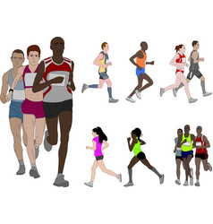people running detailed color vector image