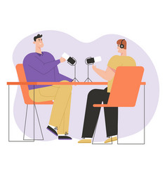 Podcasters talk into microphones and broadcast vector