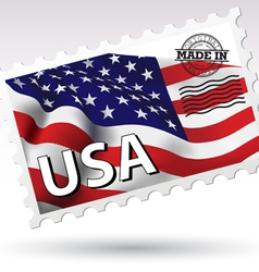 Postmark Made in USA flag vector