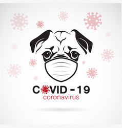 Pug dog wearing a mask to protect against vector