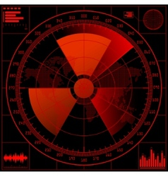 radar screen with radioactive sign vector image vector image