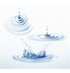 realistic transparent drop and circle ripples set vector image