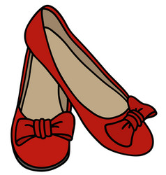 Red womens low shoes vector