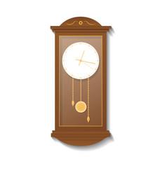 Retro wooden pendulum clock icon vector