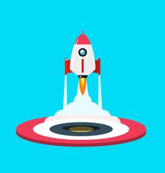 rocket launch symbol flat design spaceship icon vector image