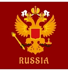 Russian flat doubleheaded imperial eagle vector