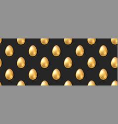 seamless pattern volumetric golden eggs on black vector image