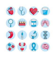 Set medical diagnosis treatment prevention vector