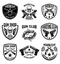 Set weapon club gun shop emblems labels vector