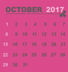Simple calendar template of october 2017 vector