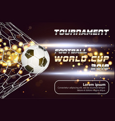 Soccer or football banner with 3d ball on golden vector