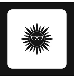 Sun face with sunglasses icon simple style vector