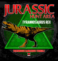 T-shirt design with dinosaur vector