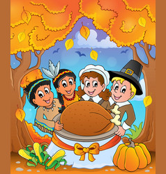 Thanksgiving pilgrim theme 6 vector