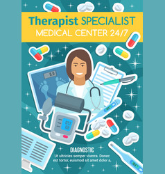 Therapist doctor and medical diagnostic clinic vector