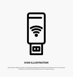 Usb wifi service signal line icon vector