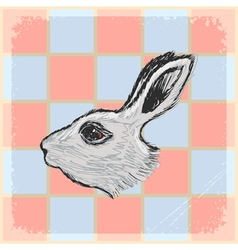 Vintage grunge background with rabbit vector