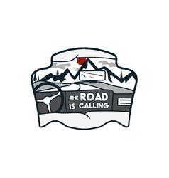 wanderlust logo emblem road trip badge vintage vector image