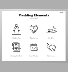 Wedding elements line pack vector