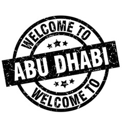 welcome to abu dhabi black stamp vector image vector image