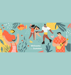 Welcome to summer concept with women with vector