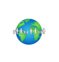 White paper people around earth isolated on a vector