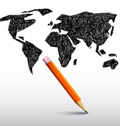 World Map with Pencil vector