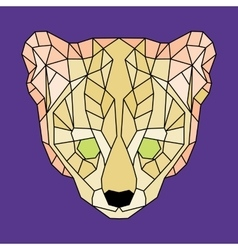 Yellow lined low poly ocelot vector image