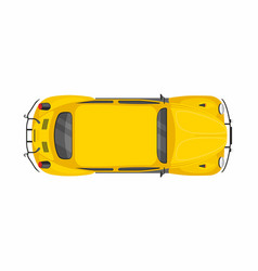Yellow retro car top view vector