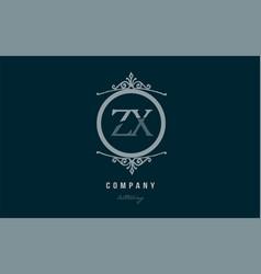 zx z x blue decorative monogram alphabet letter vector image