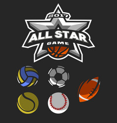 all star game logo emblem vector image vector image