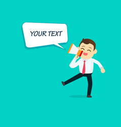 businessman with megaphone and speech text vector image