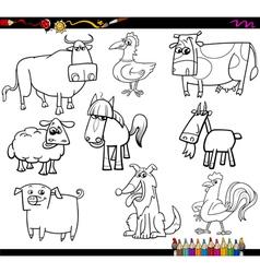farm animals coloring bookd set vector image vector image
