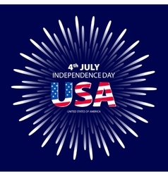 Happy 4th July independence day with fireworks vector image vector image