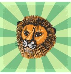 Vintage grunge background with lion vector