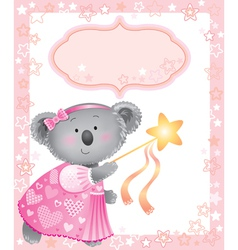 Baby pink frame with koala vector image vector image