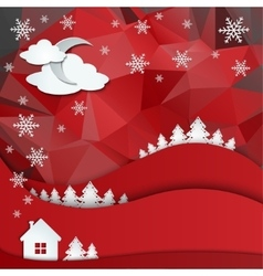 Christmas greeting card on winter landscape vector image vector image