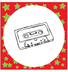 conpact audio cassette tape sketch vector image