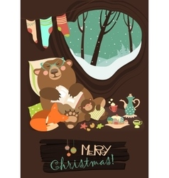 Cute bear with cub and little fox sleeping in his vector image
