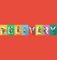 delivery picture set with mailman characters vector image vector image