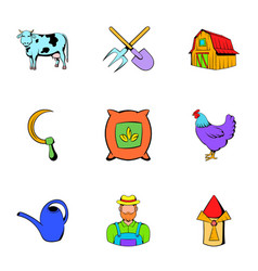 farm icons set cartoon style vector image