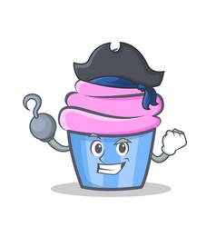 Pirate cupcake character cartoon style vector