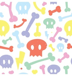 Skulls and bones white pattern vector image