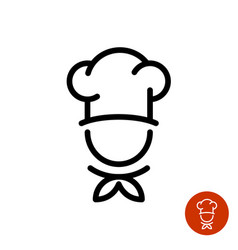 Chef in a cooking hat outline logo vector