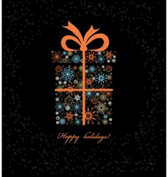 Christmas gift boxe from colored snowflakes vector image