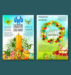 easter egg hunt invitation flyer template vector image vector image