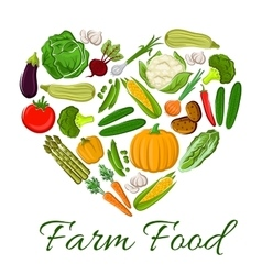 Farm Food vegetables icons in heart shape vector image vector image