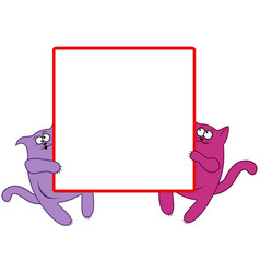 funny cats with large square banner vector image vector image