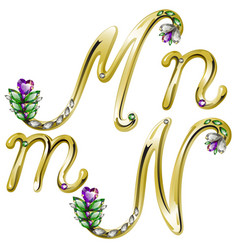 Gold alphabet with diamonds and gems letters M N vector image vector image