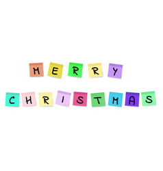 merry christmas - colorful sticky notes vector image